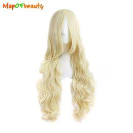 Kostüme für lange haare online-Mapofbeauty Lange Lose Welle Kunsthaar 32 Zoll 80 cm Ligth Blonde Perücke Nautral Cosplay Mädchen Kostüm Party Frauen Falsche Peruca