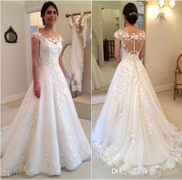 Wholesale Discount Lace Bridal Gowns - 2016 Sheer Lace Little Cap Sleeves A Line Wedding Dresses Discount Vestidos De Novia Sexy Illuiosn Button Back A-line Long Bridal Gowns
