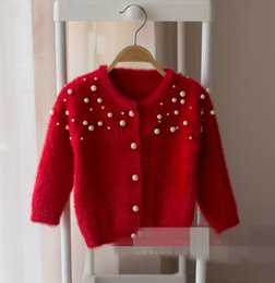 Wholesale Girls Cardigans Pearls - 2017 Autumn New Baby Girl Knitting sweater Pearl long sleeve Knitting Cardigan Children Clothes G782