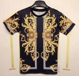Wholesale Golden Printed Top Tee - [Mikeal] Classic 3D T-shirt summer fashion men's 3d tshirt print medusa Phoenix Wings golden flowers good quality men tees tops