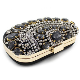 Wholesale Cheap Clutches For Women - New Fashion 2017 Latest Royal Blue Velour Flap Evening Hand Bags For Women Cheap Rhinestone Diamonds Hasp Clutch Bags