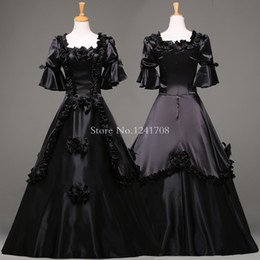 Wholesale Medieval Ball Gowns Costumes Adult - Custom Black Vintage Gothic Rococo Ball Gown Adult Halloween Party Dresses For Women Baroque Colonial Masquerade Dress Costume