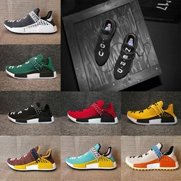 Wholesale Trail Outdoor - Newest HU NMD HUMAN RACE Trail Pharrell Williams Boost Shoes Core black Noble ink Grey Red Mens women Runner Sneakers Outdoor Fashion Shoes