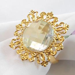Wholesale Napkin Rings Pearls - Wholesale-60Pcs Gold-Clear Napkin Ring Rhinestones Napkin Rings for Weddings Pearl Napkin Rings shiny