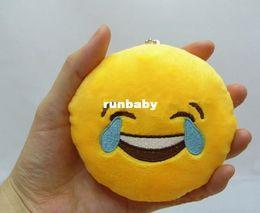 Wholesale Soft Teddy Bears Wholesalers - 10cm*10cm Soft Emoji Smiley Emoticon Yellow Round Cushion Pillow Stuffed Plush Cushion plush Emoji Keychain