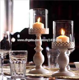 Wholesale Wall Mounted Candleholder - Vintage White Iron Candle Holder Centerpieces for Wedding w  Glass Shade European Bellocchi Carved Lace Pattern 15 inch Big Size