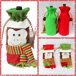 Wholesale Cheap Polyester Table Covers - Top Sale Monkey Wine Bottle Covers Bag Merry Christmas Table Decoration Festival Wine Bottle Cover Bags Gift Wrap Party Decor Cheap Online
