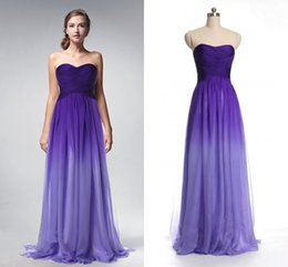 Wholesale Cheap Lilac Long Bridesmaid Dresses - 2018 Actual Photo Prom Dresses Gradient Ombre Backless Purple Chiffon Long Cheap Women Evening Formal pageant Gown Pleated Bridesmaid Dress