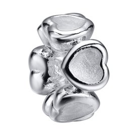 Wholesale Silver Hollow Heart Charm Bracelet - Wholesale Hollow Heart White Enamel Charms 925 Sterling Silver European Charms Beads Fit Pandora Snake Chain Bracelet Fashion DIY Jewel