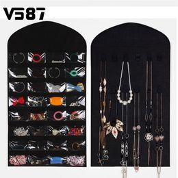 шкафы для ювелирных изделий Скидка Оптовая торговля-32-карман висит ювелирные изделия 18 наклейки организатор стороны компактный бытовой аксессуар ювелирные изделия шкаф платье сумка для хранения