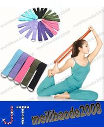 Wholesale Training Belts Rings - 183*3.8cm Long Type Yoga Stretch Strap Training Belt Waist Leg Fitness Gym Gym D-Ring Pilates Fitness Figure Waist Leg MYY14994