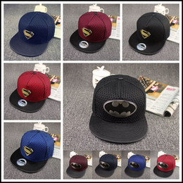 Wholesale Bat Superman - 2015 superman batman Hat super hero Hats 10 models bat man baseball Cap superhero mesh Hat Christmas Gift snapback caps J071607#
