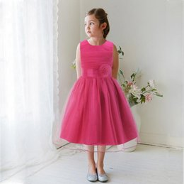 Wholesale Wholesale Net Evening Dresses - Pure Net Yarn Princess Girl Dress Pink Wedding Party Evening With Bow Summer Regular Sleeveless Brand Clothing Promotion Limited