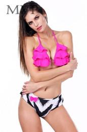 Wholesale Cheap Thong Swimwear - women's floral Swimsuit female triangle swimwear bikini set cheap thong bikini Brazilian bottom 2015 new halter strappy bra
