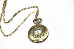 Wholesale Mini Bronze Pocket Watch - Mini Retro Vintage classical Pocket Watch Bronze Steampunk Quartz Watches Necklace Pendant Chain Clock Floral Hollow pocket Watches