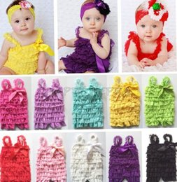 Wholesale Lace Petti Jumpsuit - Cute solid colors lace romper petti baby girl lace romper with straps and ribbon bow Jumpsuit Infant children clothes 0-3Y