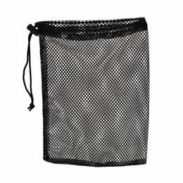2019 rede de fio de nylon Atacado-1Pc Preto Nylon Golf Ball Bag Malha Nets Bag Pouch Golf Tênis De Mesa 48 Bolas Carregando Saco De Armazenamento Titular Corda Encerramento 30x19 cm rede de fio de nylon barato