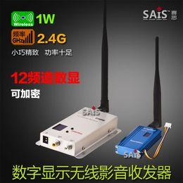 Wholesale Digital Video Transceiver - 1W 2.4G 12 channel digital display 1000 MW encryption wireless audio and video transmission machine audio and video transceiver