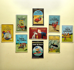 Wholesale Blue Metal Wall Art - The Adventures of Tintin Vintage Poster Cartoon Retro Decorative Picture Tin Sign Iron Metal Mural Painting Home Art Wall Decor