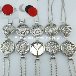 Wholesale Lockets Fragrance - Wholesale-25mm Heart 30mm Round Silver Box Cage Pad Plate Locket Necklace Perfume Fragrance Essential Oil Aromatherapy Diffuser