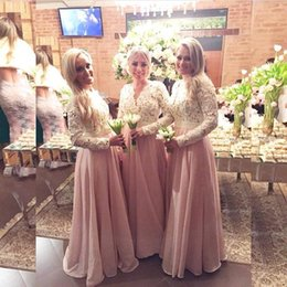 Wholesale Brown Junior Tops - 2016 Cheap Chiffon Bridesmaid Dresses Long Sleeves Lace Beaded Top V Neck A Line Floor Length Junior Prom Dresses EV0352