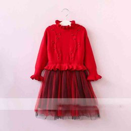 Wholesale Red Striped Tulle Girls Dress - Everweekend Girls Beading Tulle Ruffles Dress Sweet Baby Red Black and Brown Color Clothes Princess Fleece Lining Autumn Clothes