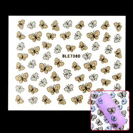 Wholesale Glitter Butterflies Decorations - Wholesale- Hot Sale Glitter Butterfly Nail Art Stickers Decals Nail Tips Decoration Manicure Kit