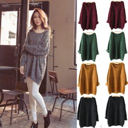 Wholesale Loose Pullovers Sweater - New Fashion Women Clothes Winter Casual Knitted Pullover Sweater Loose Knitwear Batwing Sleeved Round Neck Long Sleeve Pullover M227