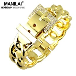 Wholesale Zinc Charm Belt Bracelet - Wholesale- MANILAI Fashion Women Belt Design Bracelets Accessories Zinc Alloy Rhinestones Metal Charm Cuff Bangles Statement Jewelry 2017