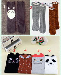 Wholesale Panda Socks - Children cartoon Totoro fox panda Long socks 2015 NEW lovely boy Girls 35cm cartoon socks 6 color B001