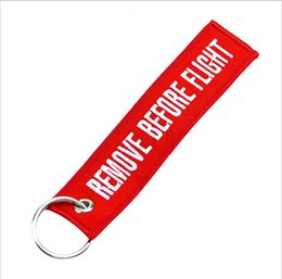 Wholesale One Savings - Wholesale-OP-[One World] Remove Before Flight Key Chain Lage Tag Zipper Pull Woven Embroidery Keychain Save up to 50%