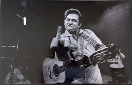 Wholesale Music Art Decor - Free Shipping Johnny Cash Middle Finger Guitar Music High Quality Art Posters Prints Home Decor Wall Paper 16 24 36 47 inches