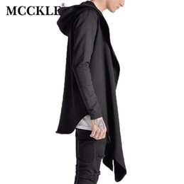 Wholesale Trench Coat Hip Hop - Wholesale- MCCKLE Winter Mens Hip Hop Long Before and After The Short trench coat Hi-Street Extended Hoodies mens black trench coat