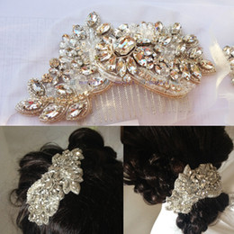 Wholesale Hand Embroidery Accessories - High Qulity Vintage Inspired Hand Beaded Glass Stone Gold Embroidery Cystal Chain Beads Wedding Hair Combs Shinny Hair Dress Accessories