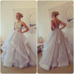 Wholesale Paige Dress - New Arrival 2016 Stunning Ball Gown Prom Dresses Hayley Paige Bateau Neck Beading Ruffles Organza Backless Wedding Party Dresses