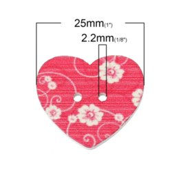 Wholesale Two Hole Heart Button - Wood Sewing Button Scrapbooking Heart At Random Two Holes Flower Pattern 25.0mm x 22.0mm,100 PCs 2015 new M67879