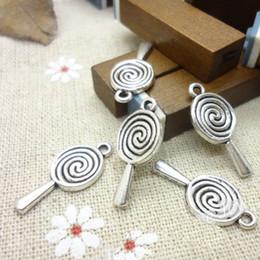 Wholesale Wholesale Lollipop Necklace - New 20PCS 24x11mm Vintage Antique Silver Lovely Lollipop Charms Pendants DIY Jewelry for Bracelet Necklace Making