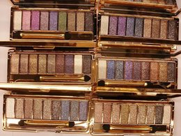 Wholesale Bright Eyeshadow Palettes - Women bright colorful makeup 9 Color Waterproof super flash Glitter Eyeshadow Palette cosmetics eye shadow Diamond shimmer Gold with Brush
