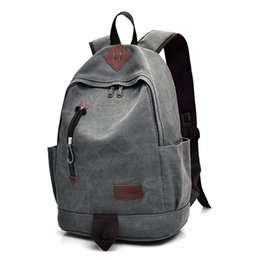 Wholesale Laptop Bags Backpack Style - New Unisex Men Canvas Backpacks Large School Bags For Teenagers Boys Girls Travel Laptop Backbag Mochila Rucksack Grey