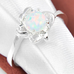 Wholesale Opal Mothers Ring - 2015 Real Rings 5 Pcs 1 Lot Mother Gift Crystal White Fire Opal Gemstone 925 Sterling Silver Ring Russia American Australia Weddings Jewelry