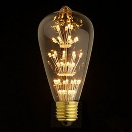 Wholesale Led Light Bulb A19 - Antique Retro Vintage Edison Light Bulb E27 110V 220V 3W Incandescent Light Bulbs ST64 A19 G95 led Cob Bulb Edison Lamps Fixtures flymall