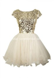 Wholesale Dance Evening - 2016 Cheap Under 100 Cute Gold Sequins Short Homecoming Dresses Evening Cocktail Gowns Little White Ivory Tulle 8th Grade Dance Dresses