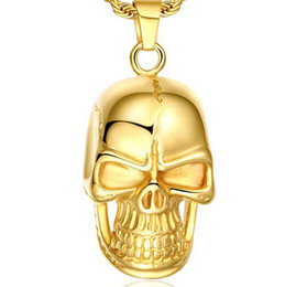 Wholesale Change Slide - Swiss precision steel Skull pendant 18K gold filled necklace Seiko quality Never change color
