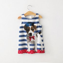 Wholesale dog piece - Baby kids girls lovely dog summer dress sleeveless striped one-piece dress 4 pieces lot free shipping