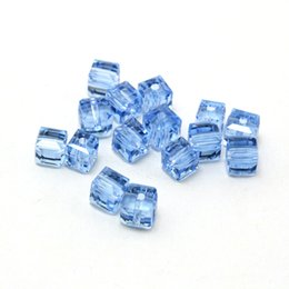 Wholesale Quartz Faceted Beads Wholesale - Free Shipping Approx 400Pcs lot Light Blue Squere Cube Faceted Crystal Glass Quartz 6x6mm Loose Spacer Beads DH-BBA007-45