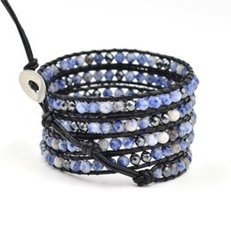 Wholesale Hematite Wraps Bracelets - Factory Direct Hot Sale Vogue Top Quality Famous Brand Style 4mm Natural Agate and Hematite Beads Wrap Genuine Leather Bracelet
