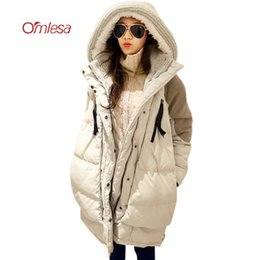 Wholesale Military Jacket Liner - OMLESA Thick Hooded Down Jacket Winter Women 2017 New Loose Military Parka Female Wool Liner Duck Down Long Outwear Coat YQ133