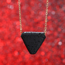 Wholesale triangle shaped necklace - Hot! European Trendy Round-shaped & Triangle Lava-rock Beads Pendant Necklace Essential Oil Diffuser Necklaces Women Neck Jewelry