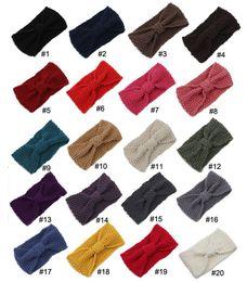 Wholesale Wide Green Crochet Headband - Fashion Womens Adult Lady Crochet Autumn Knit Headbands Warm Hoop Wide Plait Headbands ear warmer Wool Stretch Hair Bands D687J