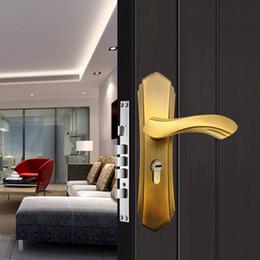 Wholesale Hotel Lock Wholesalers - Home bedroom door locks Ivory white and Yellow bronze European style Mute Solid wood Hotel Door hardware